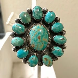 Native American Sterling Silver/TurquoiseRing sz:6